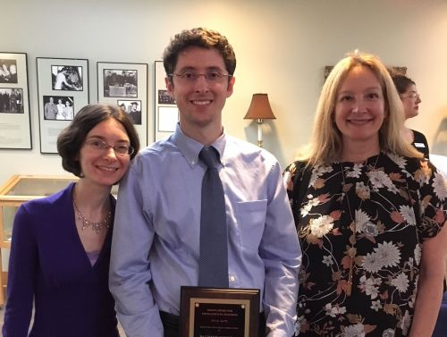 Left to Right:  Amy Morgan (wife), Patrick Morgan, 2018 Teaching Award Recipient, and Professor Denise Comer of the Thompson Writing Program