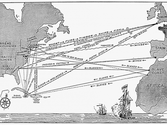 A map of the 'triangular slave trade' between Britain, its American colonies, and Africa in the 17th and 18th centuries