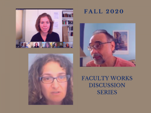 Collage of Professor Ferraro Stan, and Werlin for Faculty Works Discussion Series