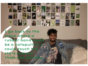 "Nima Babajani-Feremi sits on a couch with the words ""I go back to the place where a rubber band could be a catapult or I could touch the stars and eat them like Skittles"""